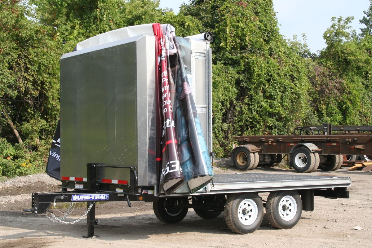 Retractable Canopy Rolling Tarps Deck Over Trailers