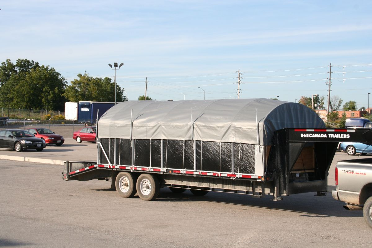 Flat Deck Trailer >> Retractable Canopy Rolling Tarps Side Kit Trailers